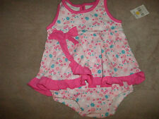 Kidgets Pink Floral One Piece Outfit Girls Size: 3/6M 6/9M Ruffle Bow