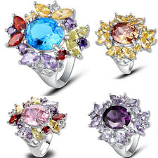 Round Marquise Cut Flower Silver Ring Gemstone Jewelry Women Gift Size 7 8 9 10
