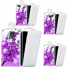 pu leather flip case cover for Mobile phones - purple floral bee flip