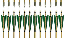 31'' Handmade Green Feather MEDIEVAL Wooden Arrows Archery Practice  Field Tip