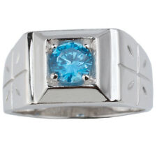 925 Sterling Silver Men Ring 6mm Simulated Blue Topaz CZ Jewelry Size 6 to 13