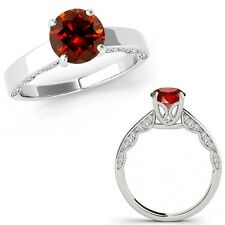 0.5 Carat Red Diamond Vintage Beautiful Solitaire Wedding Ring 14K White Gold