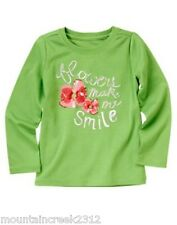 GYMBOREE Girls Shirt BURST OF SPRING Size 4 6 FLOWER Long Sleeve Tee Green NEW