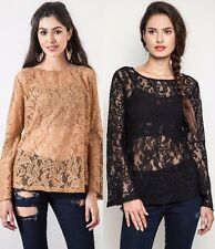 Umgee Sheer Floral Lace Tunic Top * 2 Colors * Long Bell Sleeve Boho Chic A1484