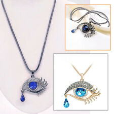 Cute Filled Angle Blue Evil Eye Amulet Crystal Necklace Pendant Long Chain Gift