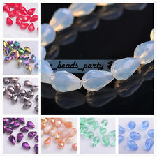 20pcs 13X8mm Teardrop Faceted Crystal Glass Loose Spacer Findings DIY Beads