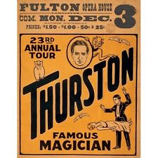 1934 Thurston The Great Levitation Magic Vintage Magician Poster Reproduction