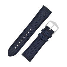 Hirsch RAINBOW Lizard Embossed Leather Watch Strap and Buckle in BLUE