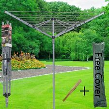 4 Arm 40/50M Rotary Airer Clothes Dryer Outdoor Laundry Washing Line Ground Sock