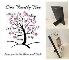 Personalised Family Tree - 14 Designs Hard Board Photo Block Plaque Photo Frame