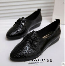 New Women Lace Up Oxfords PU Leather Casual Flats Comfort Fashion Shoes CZ99