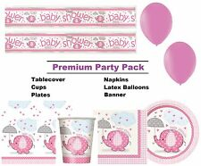 Pink Elephant 8-48 Guest Premium Baby Shower Party Pack | Banner | Balloons
