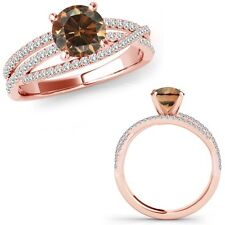 1 Ct Champagne Color Diamond Fancy Eternity Wedding Anniversary Ring Rose Gold