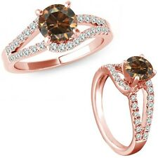 0.5 Ct Champagne Diamond Solitaire Promise Anniversary Bridal Ring 14K Rose Gold