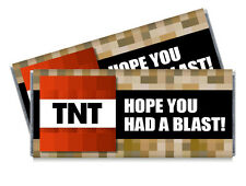 12 TNT Birthday Candy Bar Wrappers - Personalized Minecraft inspired favors