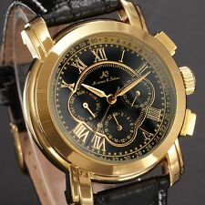 Classic KS Men's Roman 6 Hands Dial Date Day Automatic Mechanical Leather Watch