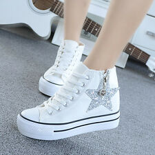 Wedge Heels Platform Lace Up High Top Trainers Sneakers Ankle Boots Flats Shoes