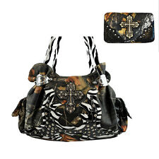 Western Camouflage Cross Leather Women's Handbag Purse with Matching Wallet