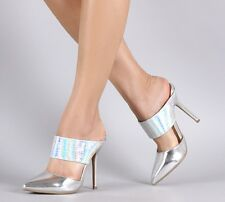 New Silver Hologram High Heel Mule Slide Pointed Toe Stiletto Pump Womens Shoes