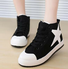 New Women's Comfort High Top Lace Up Canvas Platform Sneakers Trainer Shoes CZ57