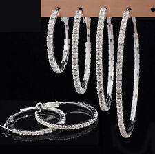 1pair Fashion Women Crystal Rhinestone Hoop Silver Plated Big Earrings Ear Stud