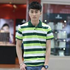 New Fashion Men Slim Fit  Shirt Short Sleeve Striped T-shirts Casual Tops