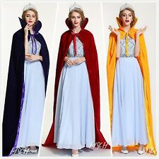 "71"" Full Length Velvet Satin Cloak Cape High Collar Wicca Robe Pageant Party New"