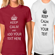 Keep Calm And Carry On Pesonalised Text Name T-Shirt Mens Womens Colour Stag Hen