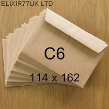 C6 / A6 100gsm QUALITY BROWN KRAFT ENVELOPES RECYCLED CARDS PAPER WEDDING CRAFTS
