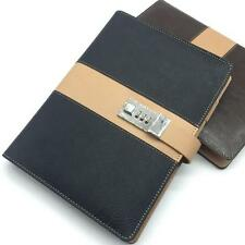 Vintage A5 Code Password Lock Leather Blank Diary Book, Secret Notebook H
