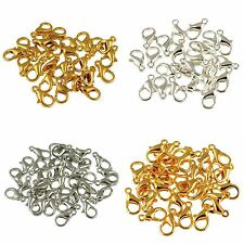 100Pcs Jewelry Silver Gold Copper Plated Lobster Clasps Hooks 10/12mm