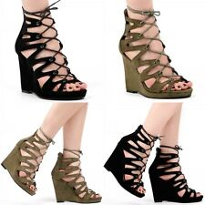 Ladies Womens Lace Up Open Toe Wedged Heel In Black & Khaki (B&CRW4) All Size