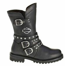 """Harley-Davidson® Women's 8"""" Adrian Riding Black Leather Motorcycle Boots D87027"""