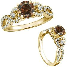 1 Ct Champagne Color Diamond Fancy Infinity Engagement Wedding Ring Yellow Gold