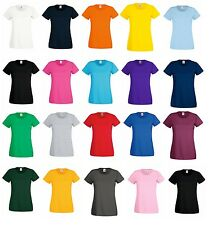 5 Pack Fruit Of The Loom Womens Lady-Fit Valueweight T-Shirt T-Shirts 19 Colors