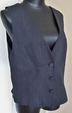 DANA BUCHMAN CHARCOAL GRAY 100% WOOL HERRINGBONE LINED BUTTON FITTED VEST SZ-16