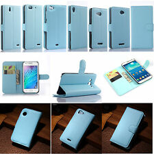 Blue Flip PU Leather Card Slot Folio Case Stand Cover Fashion ID Holder Wallet