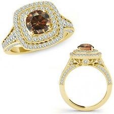 1.75 Ct Champagne Diamond Fancy Double Halo Cluster Wedding Ring 14K Yellow Gold