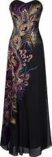 Black Peacock Evening Gown Sequin Long Dress Ball Prom Bridesmaid size 10 14 16