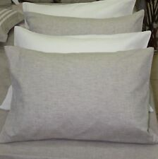 1 Pillow Cover Case 100% Linen White or Oatmeal (Gray), Coral, Blue  color