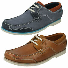 MENS CLARKS TAN BLUE NUBUCK CASUAL EVERYDAY LACE UP BOAT SHOES KENDRICK SAIL