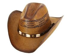 NEW! Western Straw Cowboy Hat w Bone Band Elastic (S/M, L/XL, Kids)