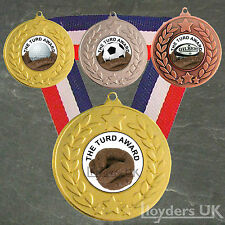 Turd Award Medal & Ribbon, Engraved, Turd Award Trophy Plain Football Golf Rugby