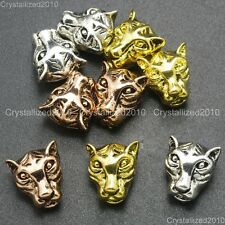 Solid Metal Leopard Head Bracelet Necklace Connector Charm Beads Gold Silver