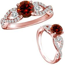 1 Carat Red Color Diamond Fancy Infinity Wedding Anniversary Ring 14K Rose Gold