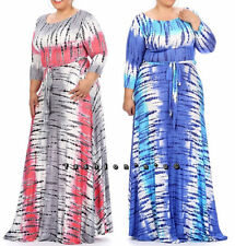 Plus Size Tie Dye Rayon Jersey Maxi Dress Side Pocket Full Sweep Long Skirt