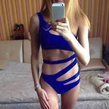 New Women Sexy One Shoulder Bandage Cut Out One Piece Swimsuit Swimwear LM