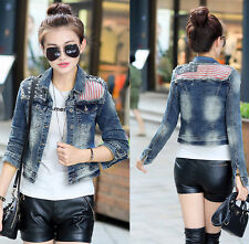 Fashion Women Jeans Denim Jacket American flag Slim Short Coat Casual Outerwear