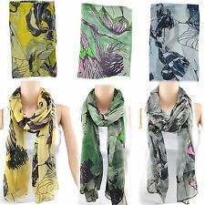 New Pretty Long Soft Women Fashion Flower Voile Scarf Wrap Shawl Stole Scarves