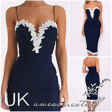 UK Womens Navy Bodycon Strappy V Neck Lace Evening Party Ladies Midi Dress 6-14